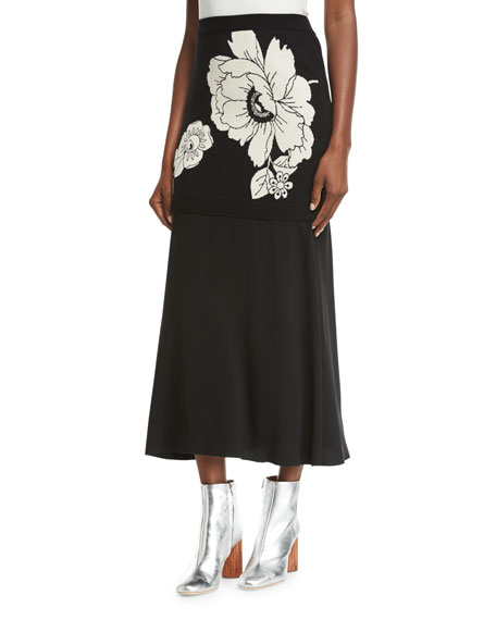 Boutique Moschino Floral Jacquard Knit Maxi Skirt