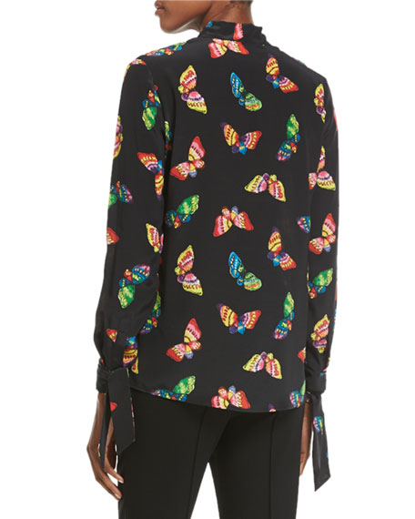 Long-Sleeve Tie-Neck Butterfly-Print Silk Blouse