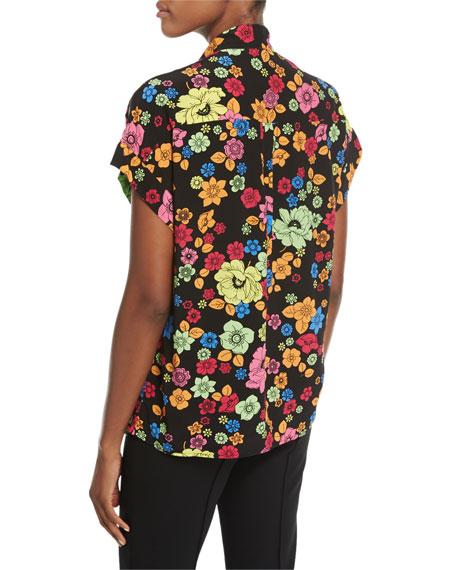 Short-Sleeve Floral-Print Tie-Neck Blouse