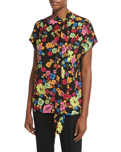 Short-Sleeve Floral-Print Tie-Neck Blouse