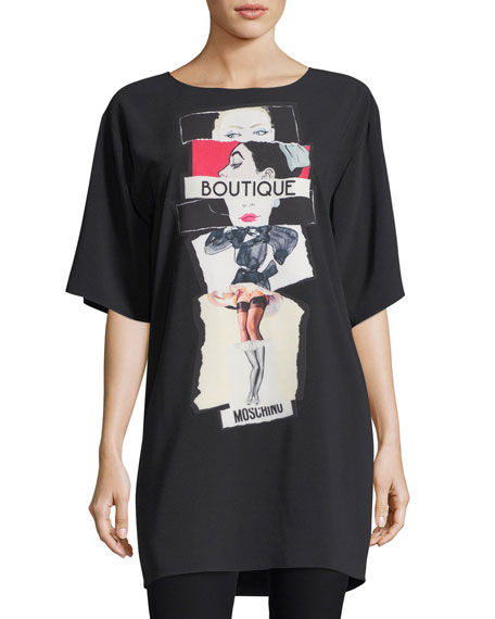 Boutique Moschino Silk Screen-Print Oversized T-Shirt