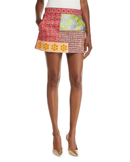 Boutique Moschino Patchwork Tweed Miniskirt