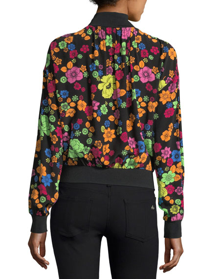 Flower-Print Turtleneck Blouse