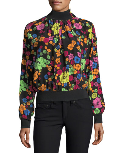 Flower-Print Turtleneck Blouse