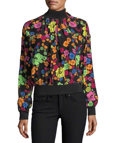 Boutique Moschino Flower-Print Turtleneck Blouse