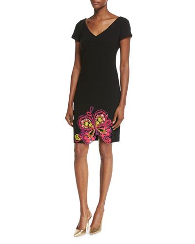 Short-Sleeve Sheath Dress w/ Butterfly Embroidered Hem