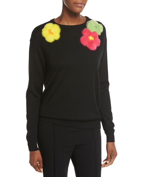 Boutique Moschino Embellished Fur-Flower Wool Sweater