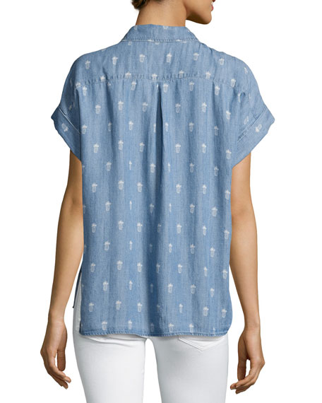 Whitney Baby-Pineapple Chambray Top