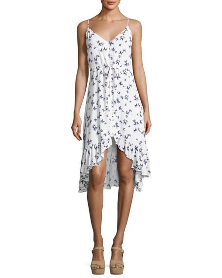 Rails Frida Butterfly-Print V-Neck Belted Dress