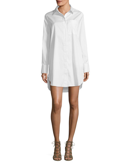 Lace-Back Collared Poplin Shirtdress