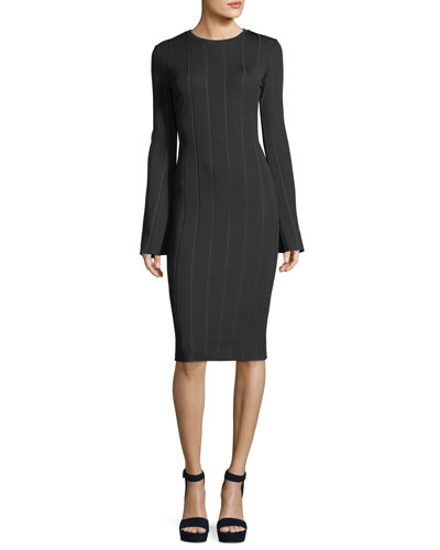 High-Neck Bell-Sleeve Fitted Dress