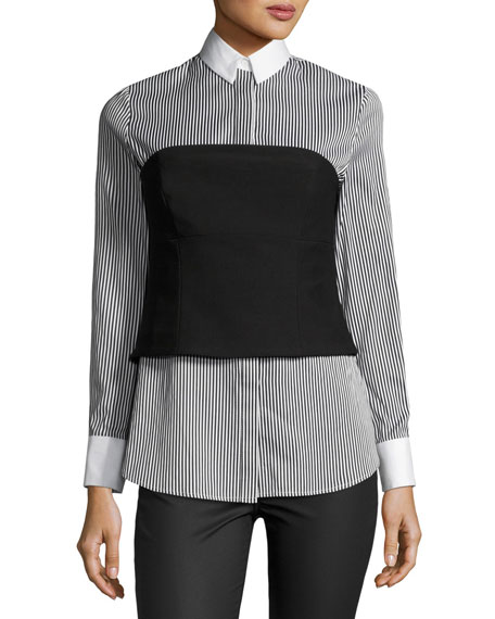 Kendall + Kylie Striped Bustier Long-Sleeve Shirt