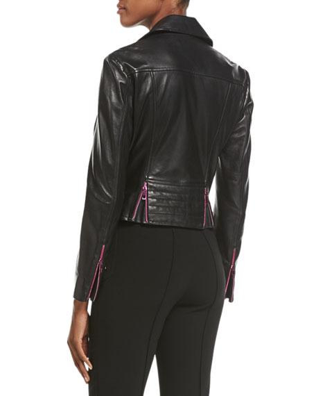 Leather Moto Jacket w/ Contrast Zippers