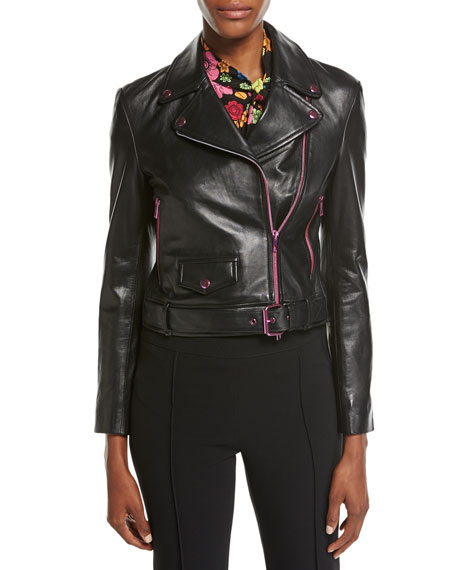 Boutique Moschino Leather Moto Jacket w/ Contrast Zippers