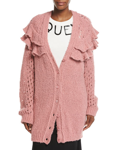 Oversized Ruffled Loose-Knit Cardigan