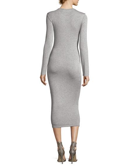 Long-Sleeve Twist-Front Jersey Midi Dress