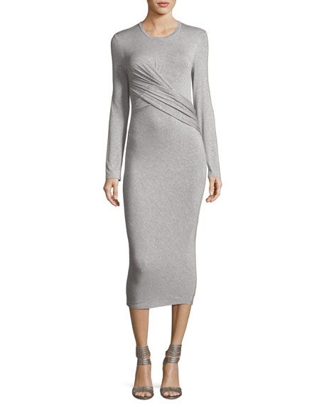 Kendall + Kylie Long-Sleeve Twist-Front Jersey Midi Dress