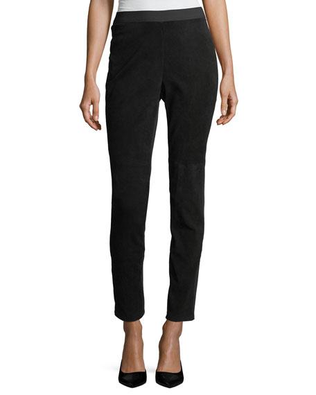 Eileen Fisher Stretch-Suede & Ponte Combo Leggings and
