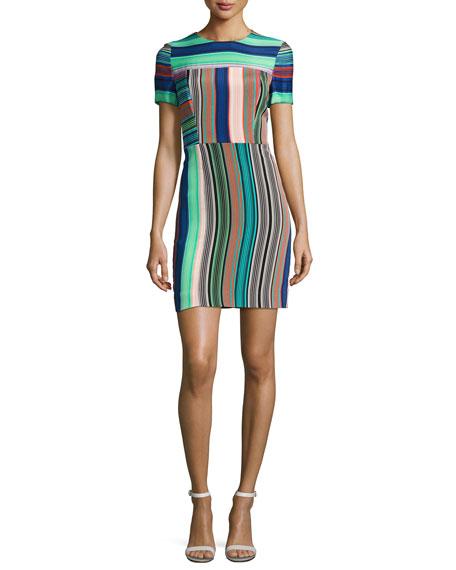 Short-Sleeve Striped Tailored Mini Dress