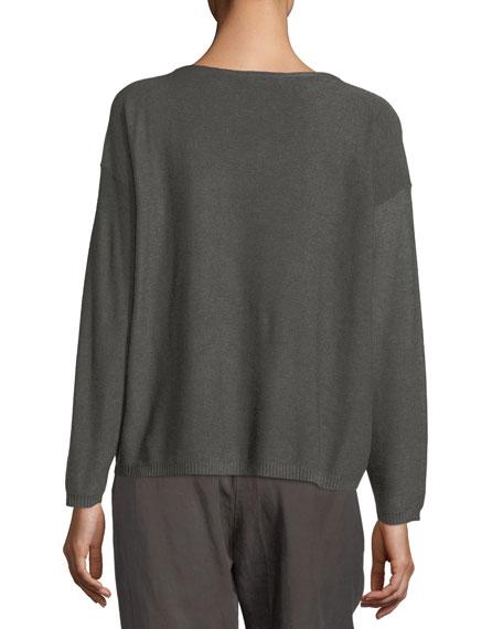 Sleek Long-Sleeve Bateau-Neck Knit Top, Petite