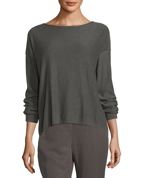Eileen Fisher Sleek Long-Sleeve Bateau-Neck Knit Top, Petite