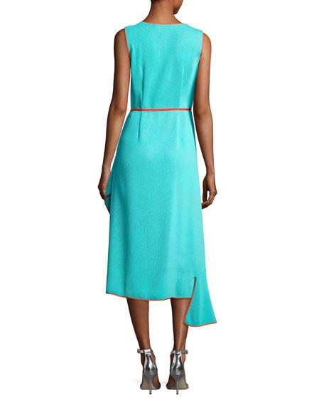 Sleeveless Asymmetric Ruffle Hem Midi Dress