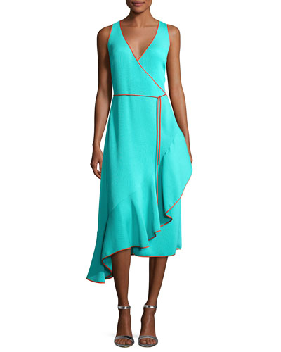Sleeveless Asymmetric Ruffle Hem Midi Dress