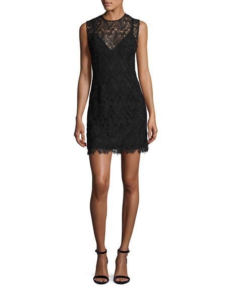 Sleeveless Tailored Lace Overlay Mini Cocktail Dress