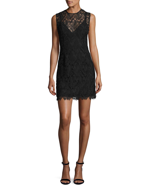 Diane Von Furstenberg Sleeveless Tailored Lace Overlay