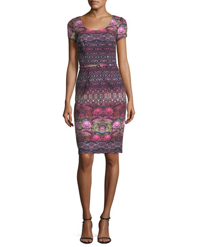 Short-Sleeve Printed Crepe Cocktail Dress