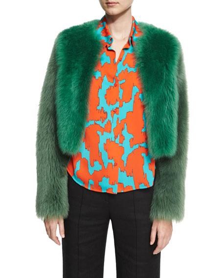 Long-Sleeve Cropped Fur Jacket