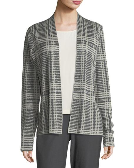 Sleek Printed Tencel®/Merino Shaped Cardigan, Plus Size