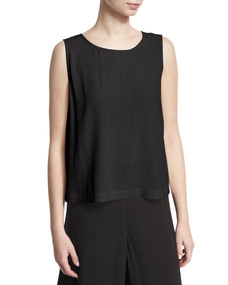 Eileen Fisher Sleeveless Short Silk Shell, Petite