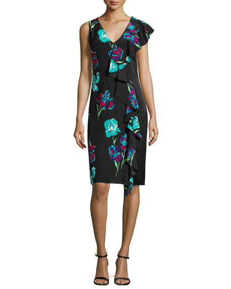 Diane von Furstenberg Sleeveless Floral-Print Ruffled Cocktail