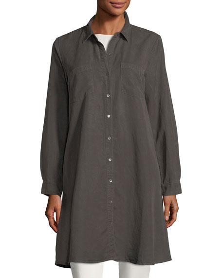 Long-Sleeve Button-Front Shirtdress