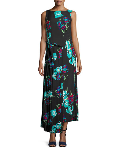 Sleeveless Floral-Printed Maxi Dress