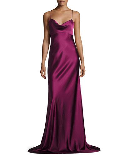 Sleeveless Cowl-Neck Satin Gown