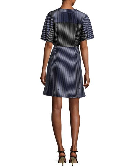 Short-Sleeve V-Neck Tie-Front Striped Dress