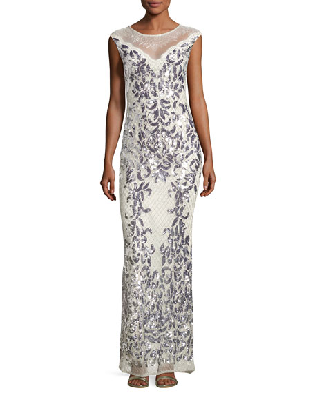 Tonia Sleeveless Sequins Beaded Gown