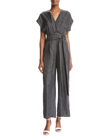 Diane von Furstenberg Short-Sleeve V-Neck Striped Silk Jumpsuit