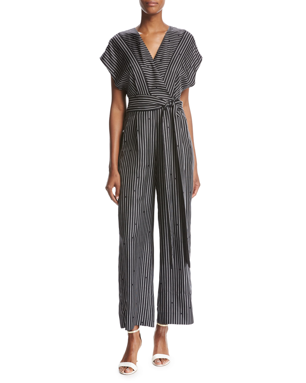 79dd453a9113 Diane von Furstenberg Short-Sleeve V-Neck Striped Silk Jumpsuit ...