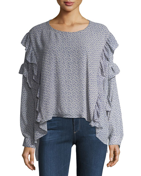 AG Bijou Long-Sleeve Ruffled Chiffon Blouse