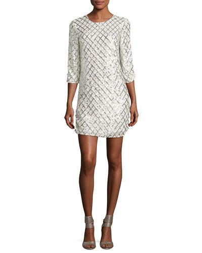 Petra Long-Sleeve Sequined Mini Dress