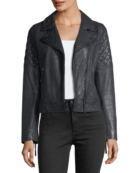 AG Adriano Goldschmied Larissa Lamb Leather Moto Jacket