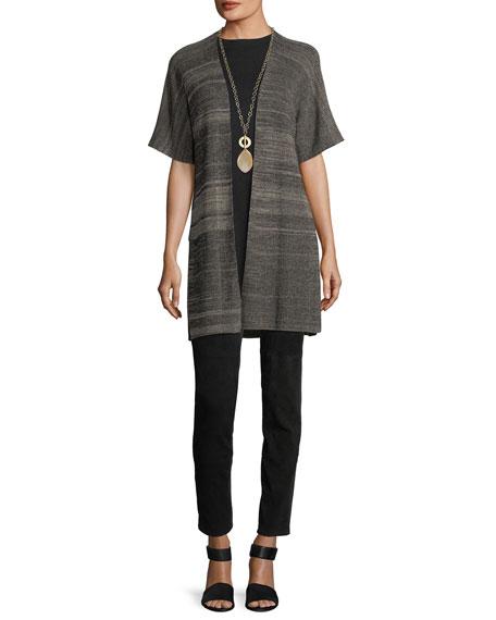 Sleek Elbow-Sleeve Kimono Cardigan, Petite