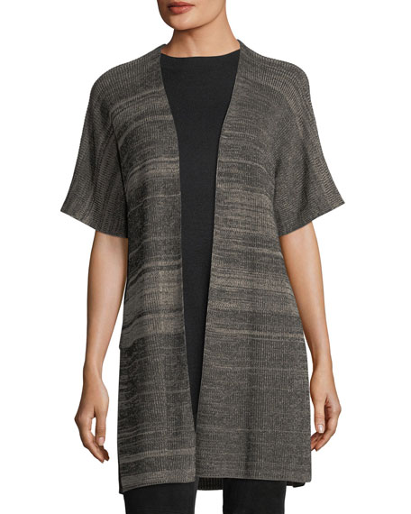 Eileen Fisher Sleek Elbow-Sleeve Kimono Cardigan, Petite and ...