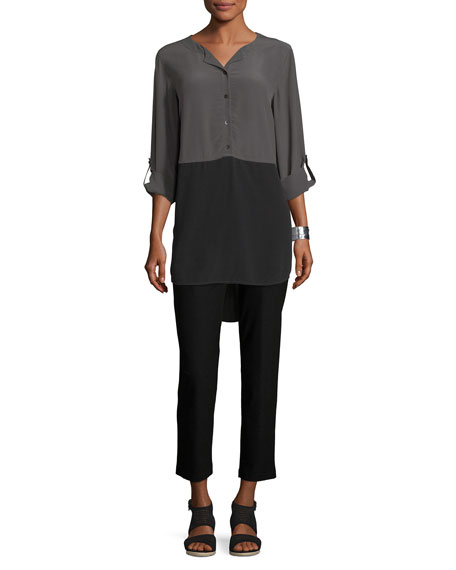 Crinkled Crepe Colorblock Tunic