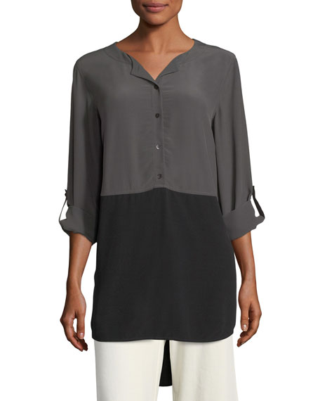 Eileen Fisher Crinkled Crepe Colorblock Tunic
