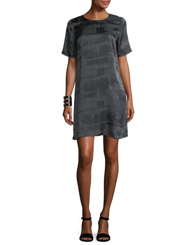 Gaia Printed Silk Boxy Shift Dress