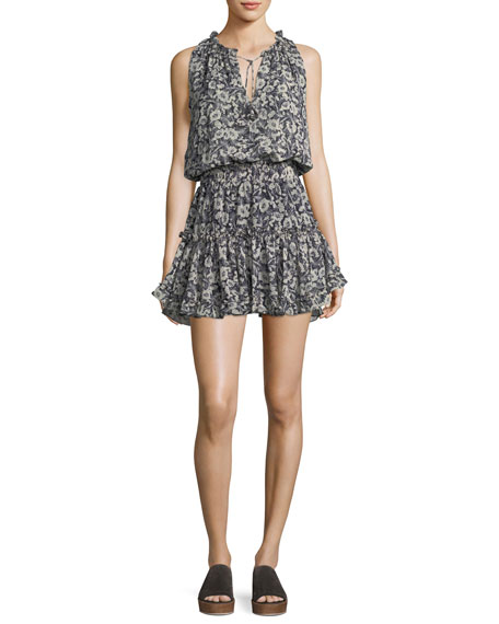 MISA Los Angeles Shirley Floral-Print Sleeveless Chiffon Mini